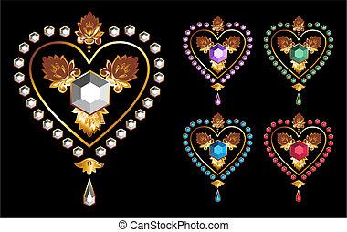 corações, amor, diamante