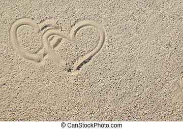 corações, areia
