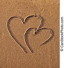 corações, areia, desenhado