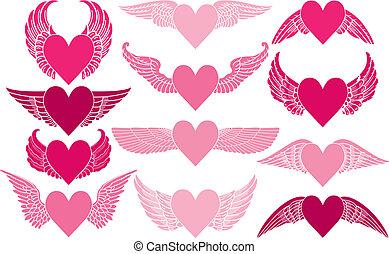 corações, asas