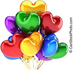 corações, balões, coloridos, forma