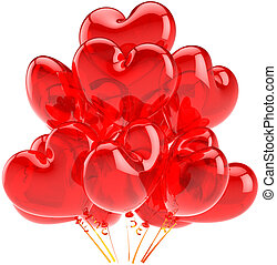 corações, balões, translúcido, vermelho