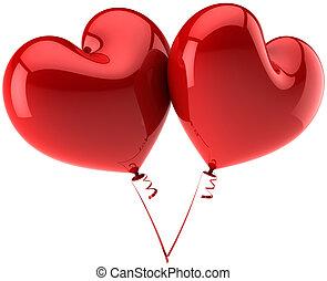 corações, balões, vermelho, Partido