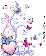 corações, borboletas