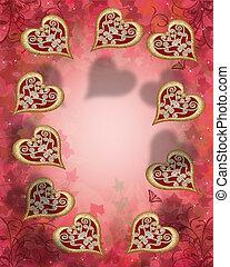 corações, borda, valentine