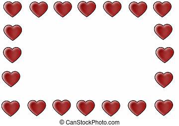 corações, borda, vermelho