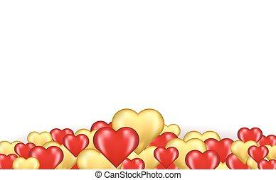 corações, borda, vermelho, ouro
