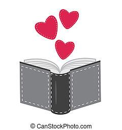 corações, branca, livro