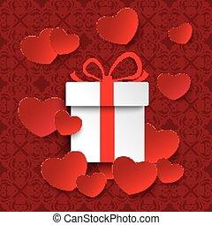 corações, branca, presente, ornamentos, vermelho