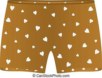 corações, branca, shorts boxer
