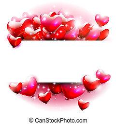 corações, branco vermelho, fundo