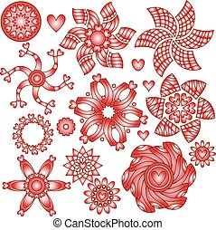corações, branco vermelho, ornamentos