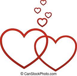 corações, branco vermelho