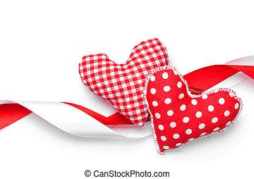 corações, brinquedo, feito à mão, Dia,  valentines