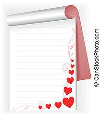 corações, caderno