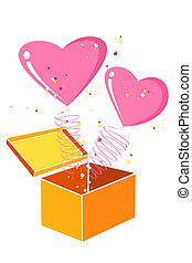 corações, cartão, valentine