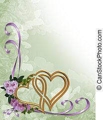 corações, casório, ouro, convite