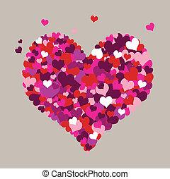 corações, cinzento, fundo