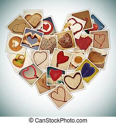corações, colagem
