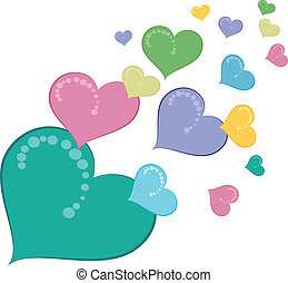 corações, colorido