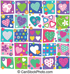 corações, coloridos, cobrança, padrão