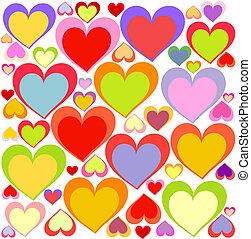 corações, coloridos, fundo