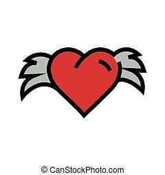 corações, com, asas, vermelho