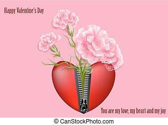 corações, com, flores