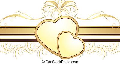 corações, com, ornamento