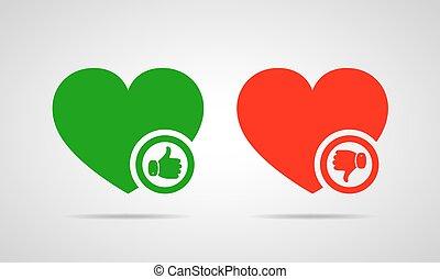 corações, com, polegar cima, e, baixo., vetorial,...