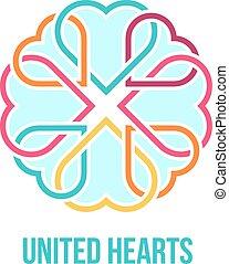 corações, conceito, unidas