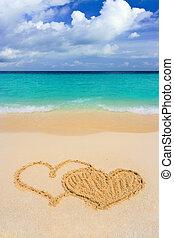 corações, conectado, praia, desenho