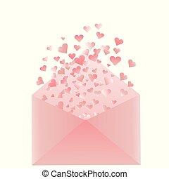 corações, cor-de-rosa, envelope
