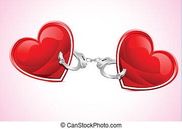 corações, cuff, amarrada, mão