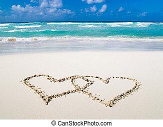 corações, desenhado, em, areia