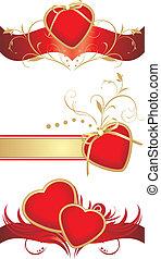 corações, desenho, vermelho