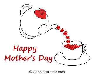 corações, dia, mãe