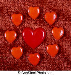 corações, Dia, vermelho, valentine