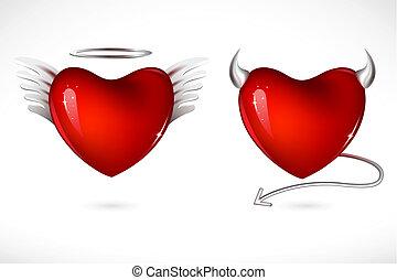 corações, diabo, anjo