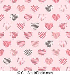 corações, distorcido, padrão