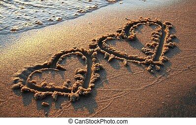 corações, dois, areia