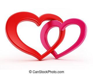 corações, entrelaçado, dois