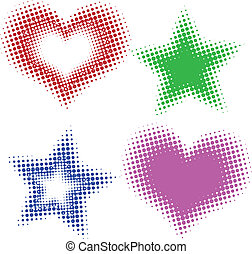 corações, estrelas, halftone