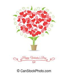 corações, feliz, árvore, cartão, valentine