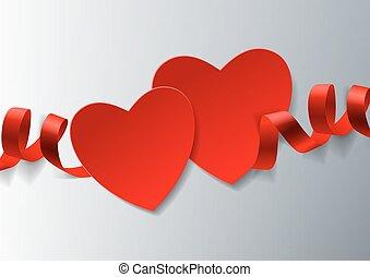 corações, fita branca, fundo, vermelho