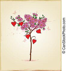 corações, flores, árvore