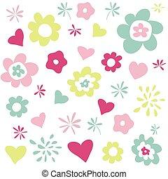corações, flores, cartão cumprimento