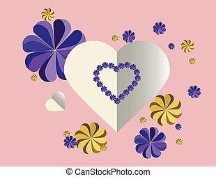 corações, flores, carta amor