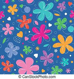 corações, flores, coloridos, padrão