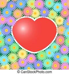 corações, flores, experiência vermelha